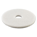 "Standard Polishing Floor Pads, 13"" Diameter, White, 5/Carton"
