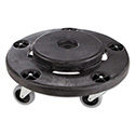 "Brute Round Twist On/Off Dolly, 250 lb Capacity, 18"" dia x 6.63""h, Fits 20-55 Gallon BRUTE Containers, Black"