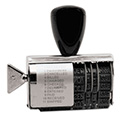 Rubber 11-Message Dial-A-Phrase Stamp, Dater, Conventional, 2 x 3/8