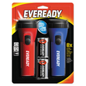 LED Economy Flashlight, Red/Blue, 2/Pack