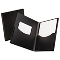 Poly Double Stuff Gusseted 2-Pocket Folder, 200-Sheet Capacity Black