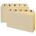 Self-Tab Card Guides, Alpha, 1/5 Tab, Manila, 5 x 3, 25/Set