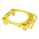 "Standard Rim Caddy, 4-Comp, Fits 32 1/2"" Dia Cans, 26 1/2w X 6 3/4h, Yellow"