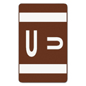 Alpha-Z Color-Coded Second Letter Labels, Letter U, Dark Brown, 100/pack