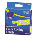 "Permanent Self-Adhesive Round Color-Coding Labels, 1/4"" dia, Yellow, 450/Pack"