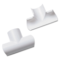 Clip-Over Equal Tee for Mini Cord Cover, White, 2 per Pack
