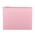 Colored Hanging File Folders, Letter Size, 1/5-Cut Tab, Pink, 25/Box