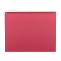 Colored Hanging File Folders, Letter Size, 1/5-Cut Tab, Red, 25/Box