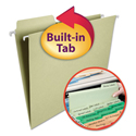 FasTab Hanging File Folders, 1/3 Tab, Letter, Moss Green, 20/Box