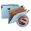 FasTab Hanging Pressboard Classification Folders, Letter Size, 2 Dividers, Blue
