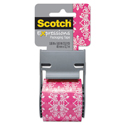 "Expressions Packaging Tape, 1.88"" x 500"", Pink/White Baroque Pattern"