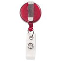 "Translucent Retractable Id Card Reel, 34"" Extension, Red, 12/pack"