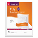 Poly String & Button Booklet Envelope, 11 5/8 x 9 3/4 x 1 1/4, Clear, 5/Pack
