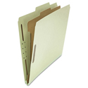 Pressboard Classification Folder, Letter, Four-Section, Gray-Green, 10/Box