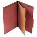 Pressboard Classification Folder, Legal, Four-Section, Red, 10/Box