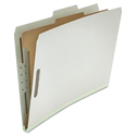 Pressboard Classification Folder, Legal, Four-Section, Gray, 10/Box