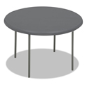 IndestrucTables Too 1200 Series Resin Folding Table, 48 dia x 29h, Charcoal
