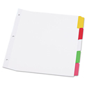 Write-On/Erasable Indexes, Five Multicolor Tabs, Letter, White