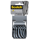 "Expressions Packaging Tape, 1.88"" x 500"", Black/White Zebra Pattern"