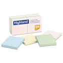 Self-Stick Notes, 3 x 3, Assorted Pastel, 100-Sheet, 12/Pack