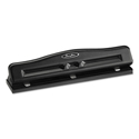 "11-Sheet Commercial Adjustable Three-Hole Punch, 9/32"" Holes, Black"