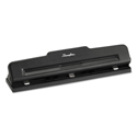 "10-Sheet Desktop Two-to-Three-Hole Adjustable Punch, 9/32"" Holes, Black"