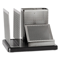 Distinctions Desk Organizer, 5 7/8 X 5 7/8 X 4 1/2, Metal/black