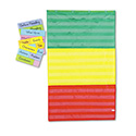 Adjustable Tri-Section Pocket Chart With 18 Color Cards, Guide, 36 X 60