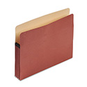 "Earthwise 100% Recycled File Pocket, 3 1/2"" Exp, Letter, Red Fiber"