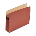 "Earthwise 100% Recycled File Pocket, 5 1/4"" Exp, Letter, Red Fiber"