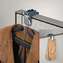 Pro Series Partition Additions Coat Hook & Clip, 1 5/8 x 2 3/4 x 3, Slate Gray
