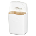 Wall Mount Sanitary Napkin Receptacle, Plastic, 1gal, White