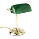 "Traditional Incandescent Banker's Lamp, Green Glass Shade, 14""h, Brass Base"