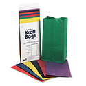 Rainbow Bags, 6# Uncoated Kraft Paper, 6 x 3 5/8 x 11, Assorted Bright, 28/Pack