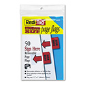 "Removable/reusable Page Flags, ""sign Here"", Red, 50/pack"
