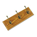Wood Wall Rack, Three Double-Hooks, 18w x 3-1/4d x 6-3/4h, Medium Oak
