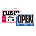 Double-Sided Open/Closed Sign w/Dial-A-Time Will Return Clock, Plastic, 11 x 8